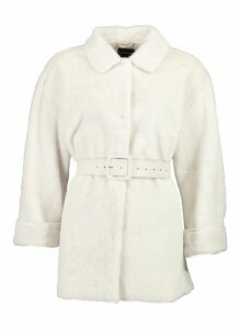 Womens Belted Faux Suede Lined Faux Fur Coat - white - 16, White