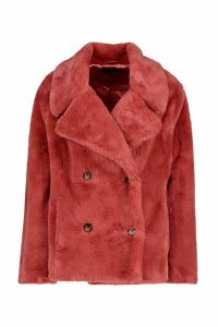 Womens Double Breasted Faux Fur Coat - pink - 16, Pink