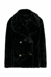 Womens Double Breasted Faux Fur Coat - black - 16, Black