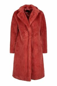 Womens Revere Collar Faux Fur Coat - pink - 16, Pink