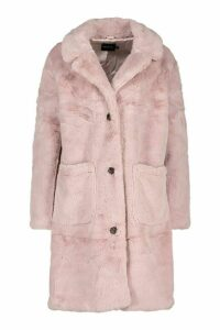 Womens Button Through Double Pocket Faux Fur Coat - purple - 12, Purple