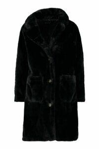 Womens Button Through Double Pocket Faux Fur Coat - black - 16, Black