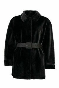Womens Belted Faux Suede Lined Faux Fur Coat - black - 16, Black
