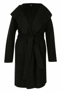 Womens Plus Belted Shall Collar Pocket Coat - black - 16, Black