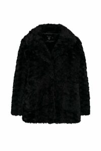 Womens Plus Collared Faux Fur Coat - black - 20, Black