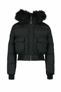 Womens Petite Luxe Faux Fur Hood Sporty Cropped Coat - black - 14, Black