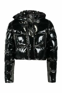 Womens Petite Hooded Crop High Shine Coat - black - 14, Black