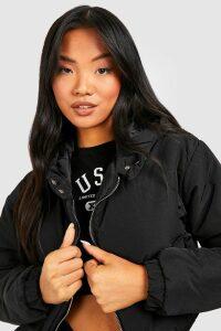 Womens Petite Hooded Crop Padded Coat - black - 14, Black