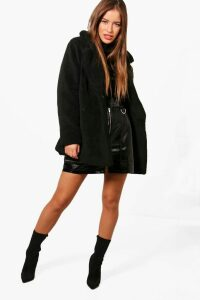 Womens Petite Double Breasted Teddy Coat - black - 14, Black
