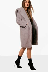 Womens Petite Oversized Hooded Teddy Coat - grey - 14, Grey