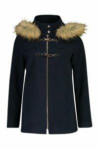Womens Faux Fur Wool Look Duffle Coat - navy - 14, Navy