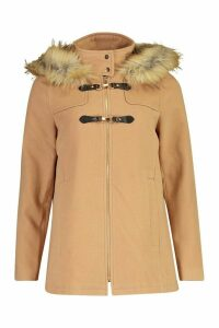 Womens Faux Fur Trim Wool Look Duffle Coat - beige - 16, Beige