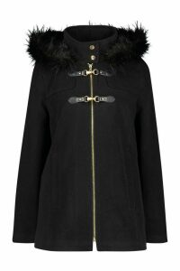 Womens Faux Fur Trim Wool Look Duffle Coat - black - 16, Black