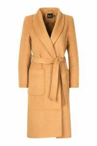 Womens Brushed Wool Look dressing gown Coat - beige - 16, Beige
