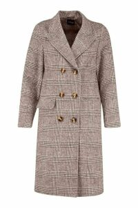Womens Double Breasted Tonal Check Wool Look Coat - brown - 16, Brown