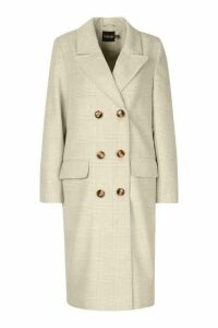 Womens Double Breasted Tonal Check Wool Look Coat - beige - 16, Beige