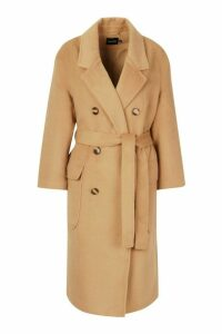 Womens Brushed Double Breasted Belted Wool Look Coat - beige - 16, Beige