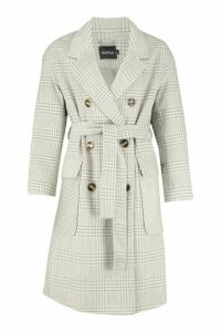 Womens Tonal Check Wool Look Belted Coat - grey - 16, Grey