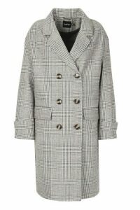 Womens Check Double Breasted Wool Look Coat - grey - 16, Grey