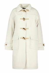 Womens Collared Wool Look Duffle Coat - white - 16, White