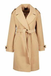 Womens Belted Collared Wool Look Coat - beige - 16, Beige