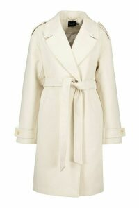 Womens Belted Collared Wool Look Coat - white - 16, White