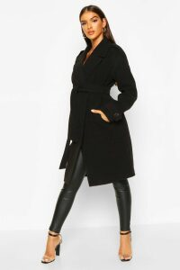 Womens Belted Collared Wool Look Coat - black - 16, Black