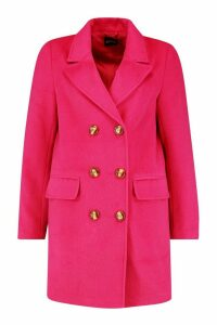 Womens Double Breasted Wool Look Coat - pink - 14, Pink