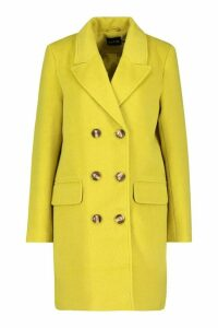 Womens Double Breasted Wool Look Coat - yellow - 16, Yellow