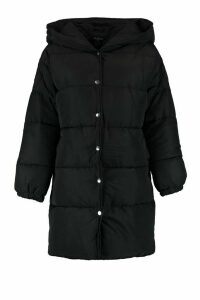 Womens Petite Hooded Dip Back Padded Coat - black - 14, Black