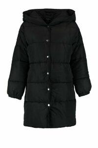 Womens Petite Hooded Dip Back Padded Coat - black - 12, Black