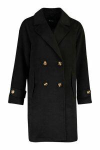 Womens Brushed Wool Look Pocket Detail Coat - black - 16, Black
