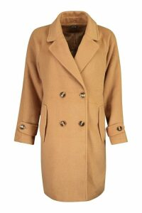 Womens Brushed Wool Look Pocket Detail Coat - beige - 16, Beige