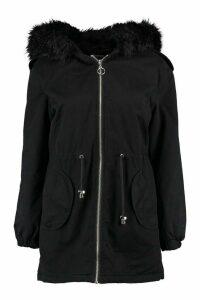 Womens Petite Faux Fur Hood Parka - black - 14, Black