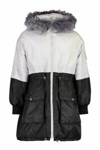 Womens Colour Block Faux Fur Trim Parka - grey - 10, Grey