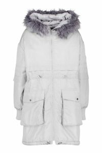 Womens Faux Fur Trim Oversized Parka - grey - 16, Grey