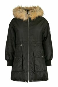 Womens Faux Fur Trim Oversized Parka - black - 16, Black
