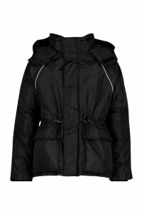 Womens Contrast Piping Synch Waist Parka - black - 16, Black