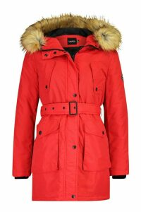 Womens Belted Parka With Faux Fur Trim Hood - red - 16, Red