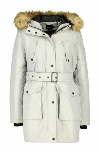 Womens Belted Parka With Faux Fur Trim Hood - grey - 16, Grey