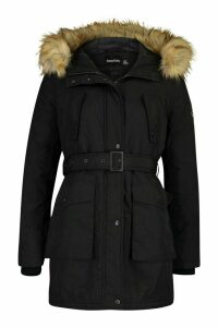 Womens Belted Parka With Faux Fur Trim Hood - black - 10, Black