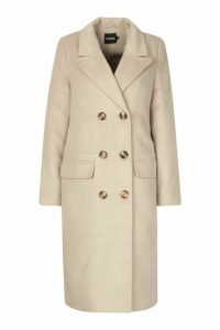 Womens Brushed Wool Look Double Breasted Coat - beige - 16, Beige