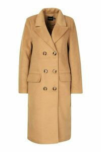Womens Brushed Wool Look Double Breasted Coat - beige - 14, Beige