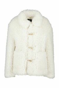 Womens Duffle Curly Faux Fur Coat - white - 14, White