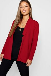 Womens Petite Notch Detail Oversized Boyfriend Blazer - red - 14, Red