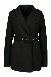 Womens Belted Wool Look Blazer Coat - black - 16, Black