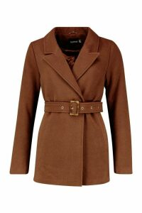Womens Belted Wool Look Blazer Coat - brown - 16, Brown