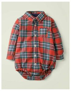 Brushed Check Body Red Baby Boden, Blue