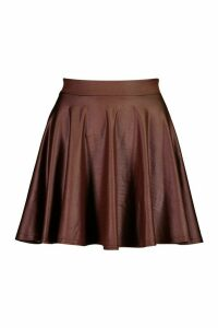 Womens Leather Look Skater Mini Skirt - brown - 10, Brown