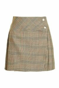 Womens Tonal Check Pleated Kilt Mini Skirt - beige - 16, Beige